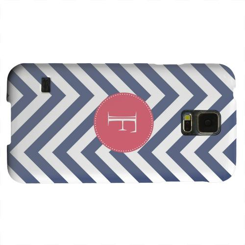 Geeks Designer Line (GDL) Samsung Galaxy S5 Matte Hard Back Cover - Cherry Button Monogram F on Navy Blue Zig Zags