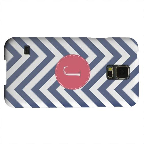 Geeks Designer Line (GDL) Samsung Galaxy S5 Matte Hard Back Cover - Cherry Button Monogram J on Navy Blue Zig Zags