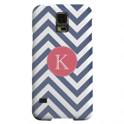 Geeks Designer Line (GDL) Samsung Galaxy S5 Matte Hard Back Cover - Cherry Button Monogram K on Navy Blue Zig Zags