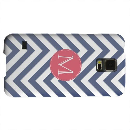 Geeks Designer Line (GDL) Samsung Galaxy S5 Matte Hard Back Cover - Cherry Button Monogram M on Navy Blue Zig Zags