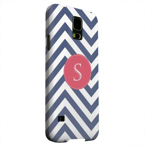 Geeks Designer Line (GDL) Samsung Galaxy S5 Matte Hard Back Cover - Cherry Button Monogram S on Navy Blue Zig Zags
