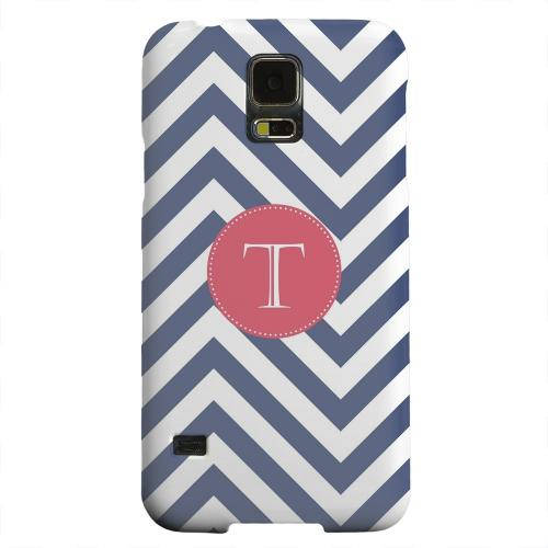 Geeks Designer Line (GDL) Samsung Galaxy S5 Matte Hard Back Cover - Cherry Button Monogram T on Navy Blue Zig Zags