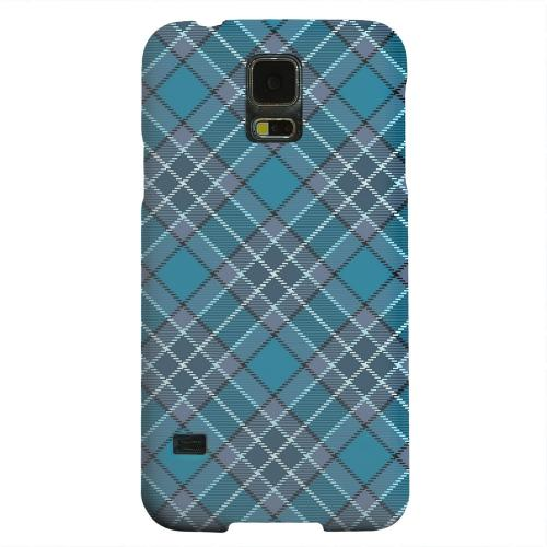 Geeks Designer Line (GDL) Samsung Galaxy S5 Matte Hard Back Cover - Dark Aqua/ White Plaid