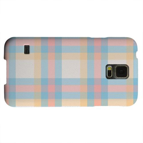 Geeks Designer Line (GDL) Samsung Galaxy S5 Matte Hard Back Cover - Blue/ Pink/ Orange Plaid Fabric