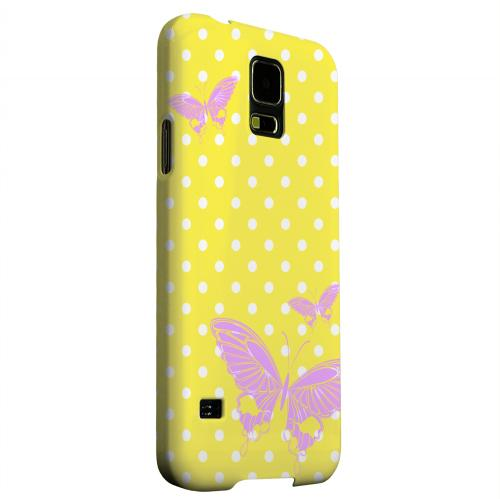 Geeks Designer Line (GDL) Samsung Galaxy S5 Matte Hard Back Cover - Pink Butterfly on White Polka Dots