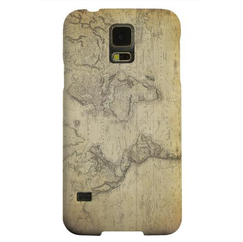 Geeks Designer Line (GDL) Samsung Galaxy S5 Matte Hard Back Cover - Vintage World Map Circa 1800's