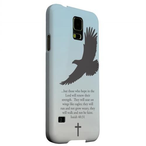 Geeks Designer Line (GDL) Samsung Galaxy S5 Matte Hard Back Cover - Isaiah 40:31 - Faint Blue