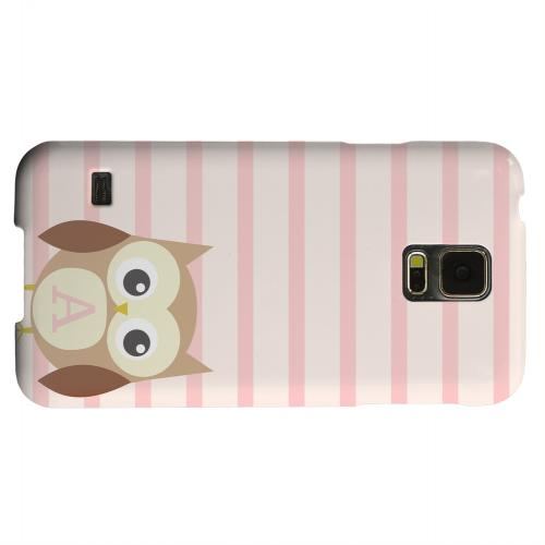 Geeks Designer Line (GDL) Samsung Galaxy S5 Matte Hard Back Cover - Brown Owl Monogram A on Pink Stripes