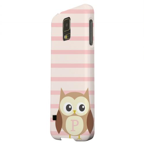 Geeks Designer Line (GDL) Samsung Galaxy S5 Matte Hard Back Cover - Brown Owl Monogram P on Pink Stripes