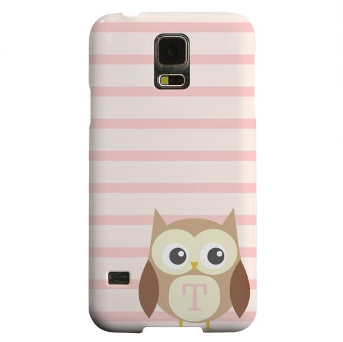 Geeks Designer Line (GDL) Samsung Galaxy S5 Matte Hard Back Cover - Brown Owl Monogram T on Pink Stripes