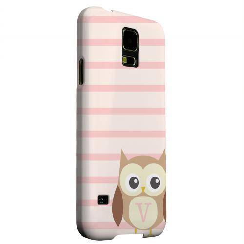 Geeks Designer Line (GDL) Samsung Galaxy S5 Matte Hard Back Cover - Brown Owl Monogram V on Pink Stripes