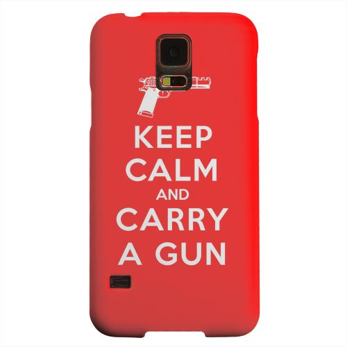 Geeks Designer Line (GDL) Samsung Galaxy S5 Matte Hard Back Cover - Red Carry A Gun