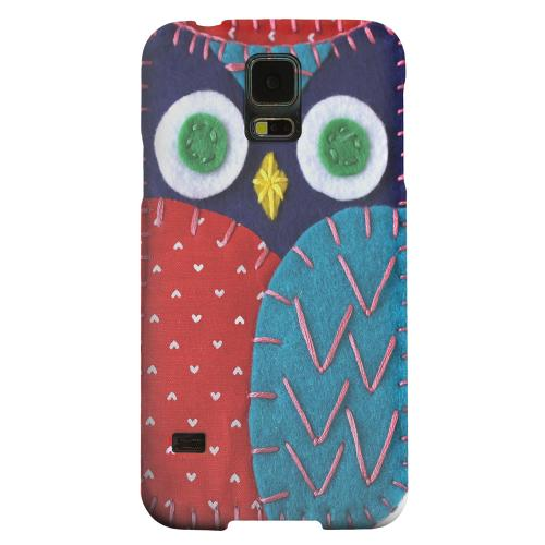 Geeks Designer Line (GDL) Samsung Galaxy S5 Matte Hard Back Cover - Dark Blue/ Red Owl