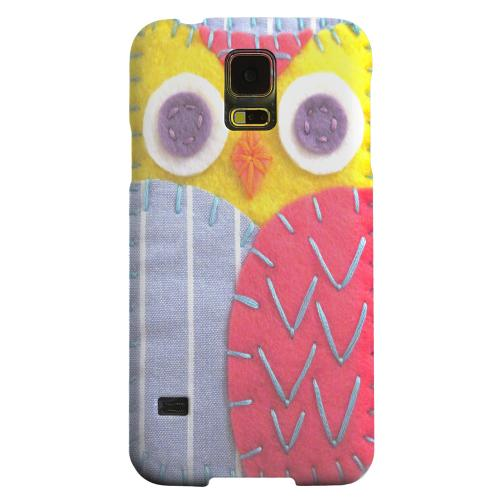 Geeks Designer Line (GDL) Samsung Galaxy S5 Matte Hard Back Cover - Yellow/ Pink Owl