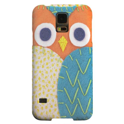 Geeks Designer Line (GDL) Samsung Galaxy S5 Matte Hard Back Cover - Orange/ Blue Owl