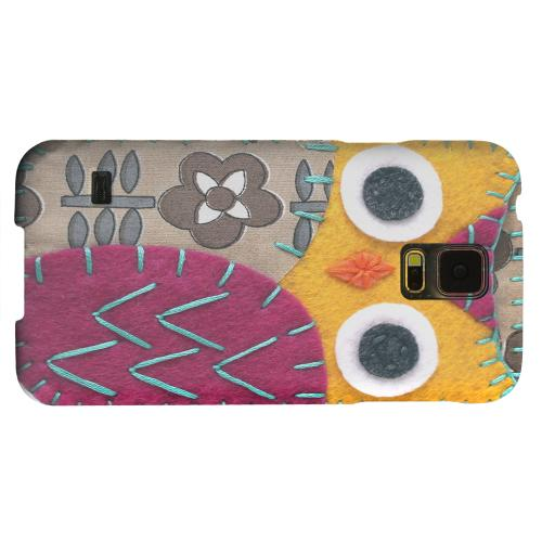 Geeks Designer Line (GDL) Samsung Galaxy S5 Matte Hard Back Cover - Yellow/ Purple Owl