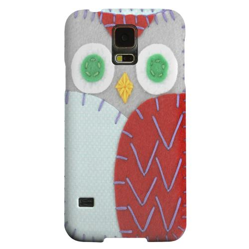 Geeks Designer Line (GDL) Samsung Galaxy S5 Matte Hard Back Cover - Gray/ Red Owl