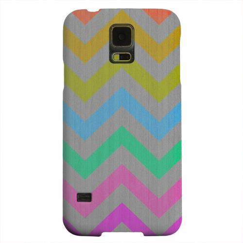 Geeks Designer Line (GDL) Samsung Galaxy S5 Matte Hard Back Cover - Grungy Multi-Colors on Gray