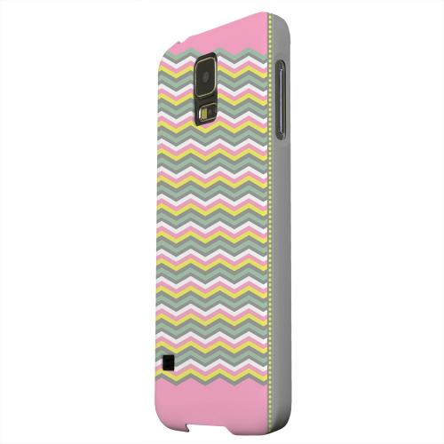 Geeks Designer Line (GDL) Samsung Galaxy S5 Matte Hard Back Cover - Green/ Yellow Dots w/ Pink & Gray