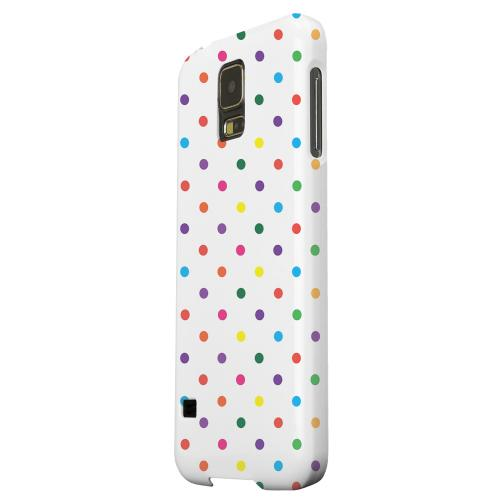 Geeks Designer Line (GDL) Samsung Galaxy S5 Matte Hard Back Cover - Small & Rainbow on White