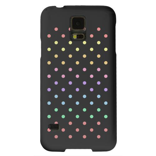Geeks Designer Line (GDL) Samsung Galaxy S5 Matte Hard Back Cover - Rainbow Dots on Black