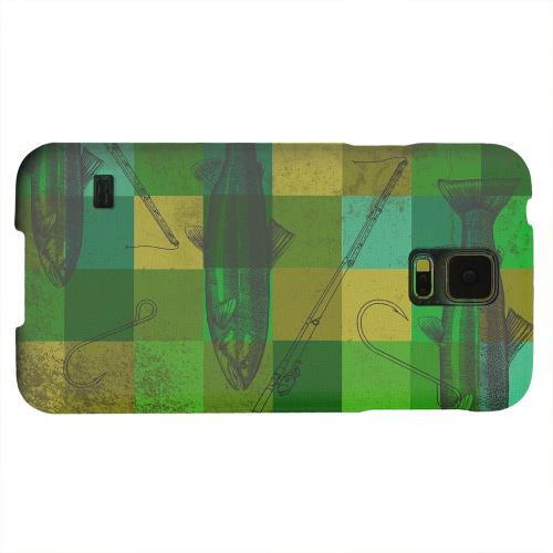 Geeks Designer Line (GDL) Samsung Galaxy S5 Matte Hard Back Cover - Green Plaid Trout Design