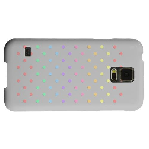 Geeks Designer Line (GDL) Samsung Galaxy S5 Matte Hard Back Cover - Rainbow Dots on Gray