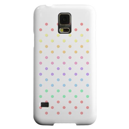 Geeks Designer Line (GDL) Samsung Galaxy S5 Matte Hard Back Cover - Rainbow Dots on White
