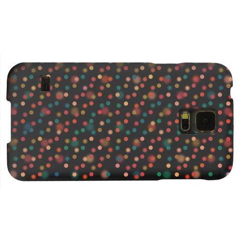 Geeks Designer Line (GDL) Samsung Galaxy S5 Matte Hard Back Cover - Faded Rainbow Dots on Black