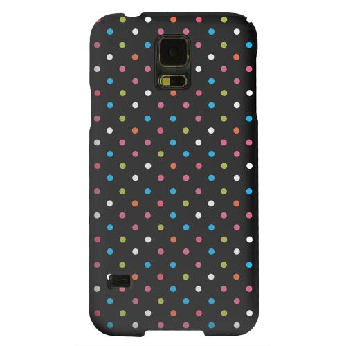 Geeks Designer Line (GDL) Samsung Galaxy S5 Matte Hard Back Cover - Retro Rainbow Dots on Black
