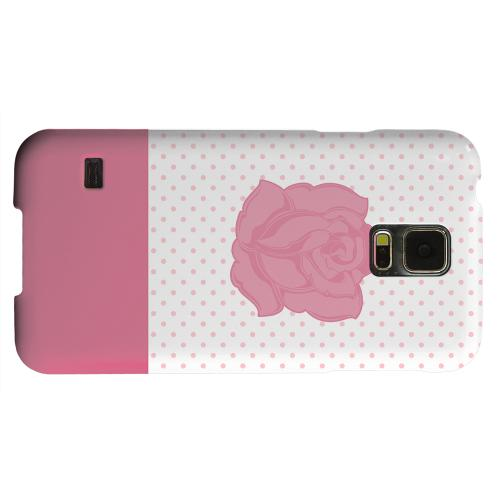 Geeks Designer Line (GDL) Samsung Galaxy S5 Matte Hard Back Cover - Pink Rose on White