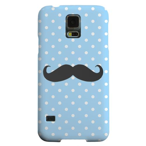 Geeks Designer Line (GDL) Samsung Galaxy S5 Matte Hard Back Cover - Stache on Sky Blue