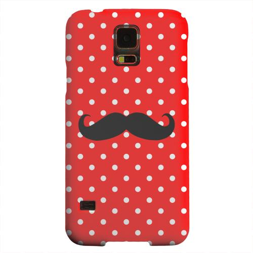 Geeks Designer Line (GDL) Samsung Galaxy S5 Matte Hard Back Cover - Stache on Red