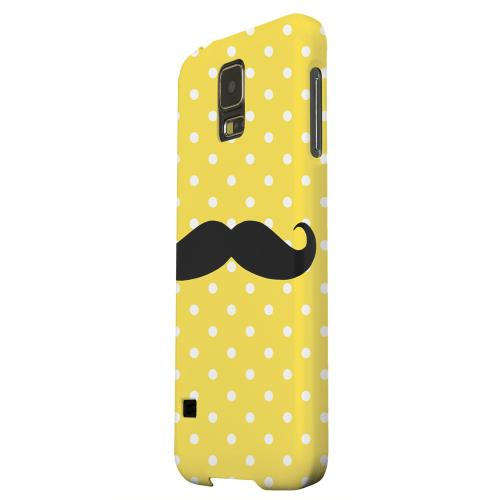 Geeks Designer Line (GDL) Samsung Galaxy S5 Matte Hard Back Cover - Stache on Yellow
