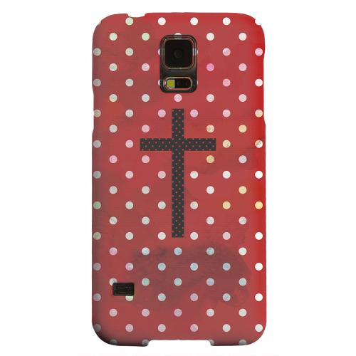 Geeks Designer Line (GDL) Samsung Galaxy S5 Matte Hard Back Cover - Stained Cross on Red