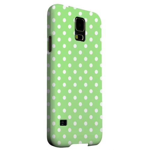 Geeks Designer Line (GDL) Samsung Galaxy S5 Matte Hard Back Cover - White Dots on Green