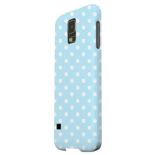 Geeks Designer Line (GDL) Samsung Galaxy S5 Matte Hard Back Cover - White Dots on Sky Blue