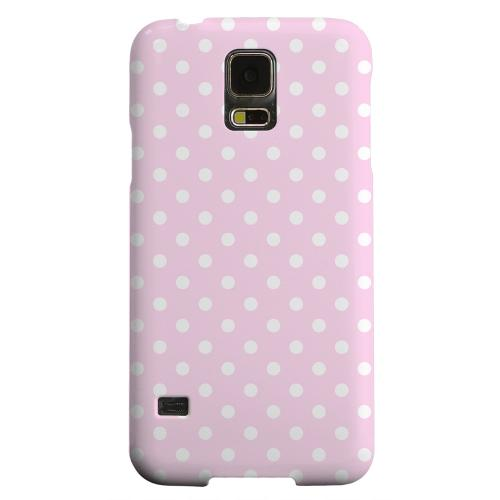 Geeks Designer Line (GDL) Samsung Galaxy S5 Matte Hard Back Cover - White Dots on Baby Pink