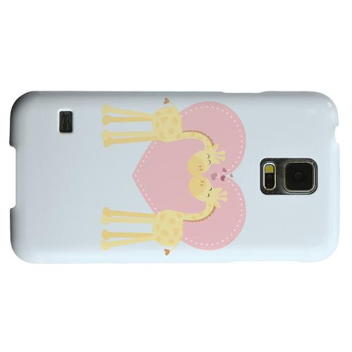 Geeks Designer Line (GDL) Samsung Galaxy S5 Matte Hard Back Cover - Giraffe Love on Baby Blue