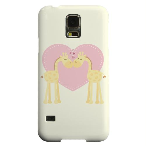 Geeks Designer Line (GDL) Samsung Galaxy S5 Matte Hard Back Cover - Giraffe Love on Light Yellow
