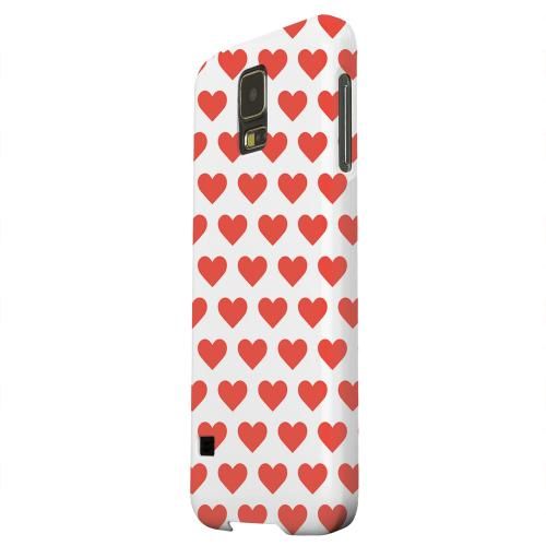 Geeks Designer Line (GDL) Samsung Galaxy S5 Matte Hard Back Cover - Red Hearts on White