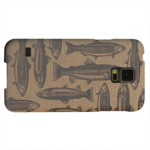 Geeks Designer Line (GDL) Samsung Galaxy S5 Matte Hard Back Cover - Vintage Salmon & Trout on Burlap