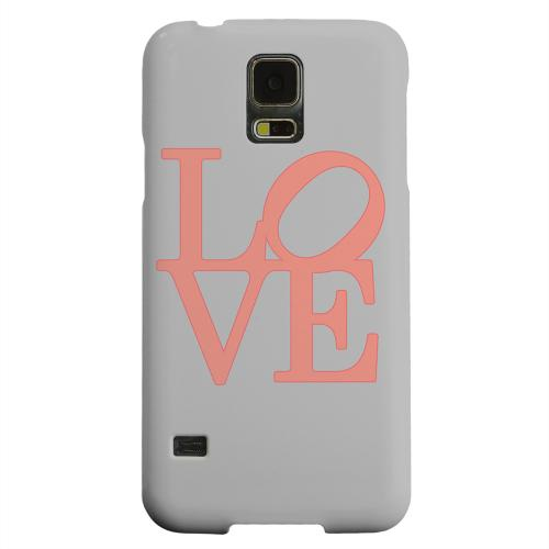 Geeks Designer Line (GDL) Samsung Galaxy S5 Matte Hard Back Cover - Pink Love on Gray