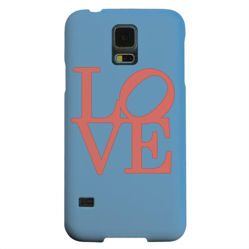 Geeks Designer Line (GDL) Samsung Galaxy S5 Matte Hard Back Cover - Red Love on Blue