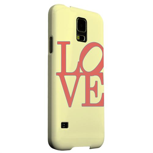Geeks Designer Line (GDL) Samsung Galaxy S5 Matte Hard Back Cover - Red Love on Yellow