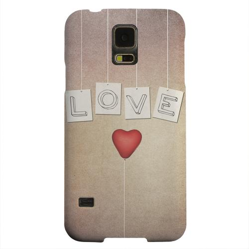 Geeks Designer Line (GDL) Samsung Galaxy S5 Matte Hard Back Cover - Love & Heart Balloon