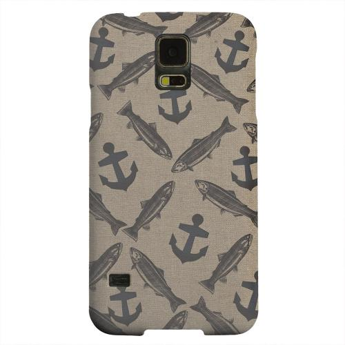 Geeks Designer Line (GDL) Samsung Galaxy S5 Matte Hard Back Cover - Vintage Salmon/Trout/Anchor Design