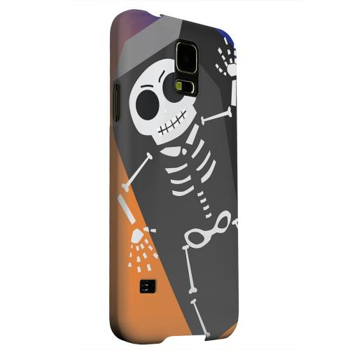 Geeks Designer Line (GDL) Samsung Galaxy S5 Matte Hard Back Cover - Dancing Skeleton on Black/Orange/Purple
