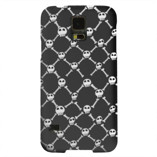 Geeks Designer Line (GDL) Samsung Galaxy S5 Matte Hard Back Cover - White Skull & Crossbones on Black