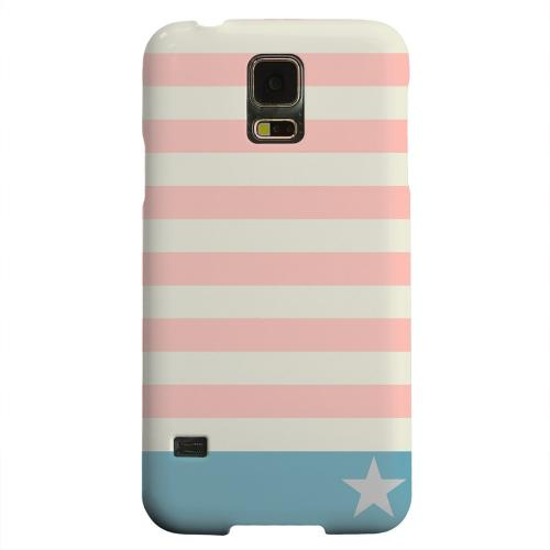 Geeks Designer Line (GDL) Samsung Galaxy S5 Matte Hard Back Cover - Bars & Stripes Forever on Pink/ Teal